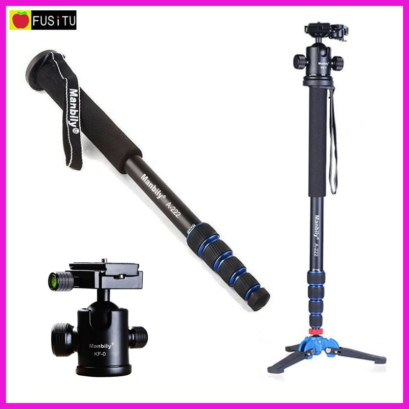 Manbily A-222 165cm Portable Professional DSLR Monopod Walking Stick with M-1 Mini Tripod Stand Base & Tripod Ballhead for DSLR