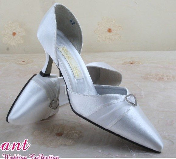 1 pair/lot Free Shipping Custom-made Wedding Bride Shoes White A560