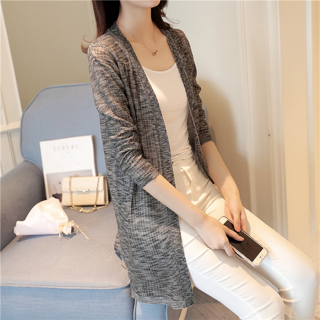 OHCLOTHING Lang Peirou summer long cardigan female a thin stripe coat all-match sunscreen clothing Cape Air Conditioning