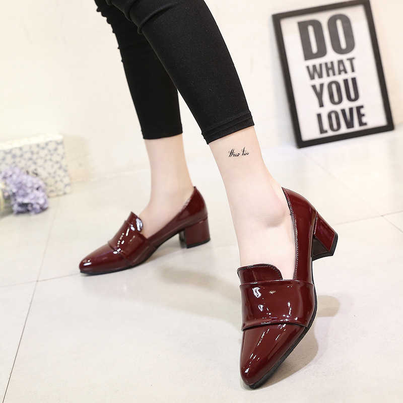 Tangnest New Fashion Med Heels Oxfords Women Pumps Pointed Toe Solid Shoes Woman Ladies Casual Work Wearing Shoes XWD6716