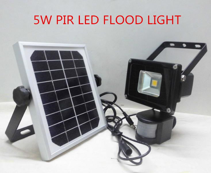 Solar powered LED Flood Security Garden Light with PIR Motion Sensor 5W LEDs outdoor path wall spot lamp luminaria wholesale цепочка