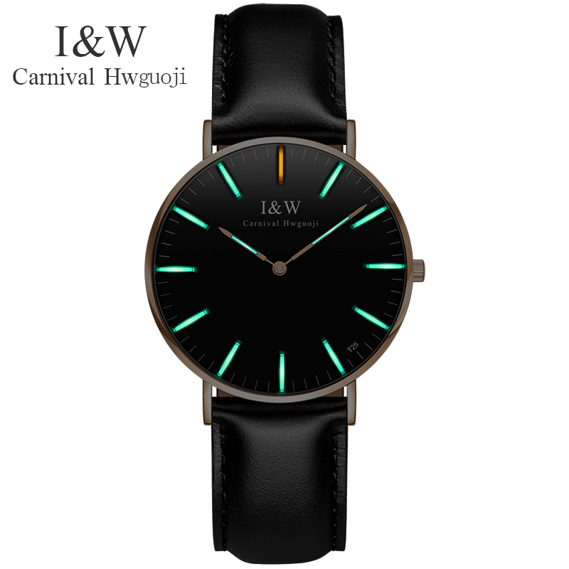 of tritium automatic light luminous watches Fashion simple ultra-thin waterproof leather female table quartz watch ultra thin watch male student korean version of the simple fashion trend fashion watch waterproof leather watch men s watch quar