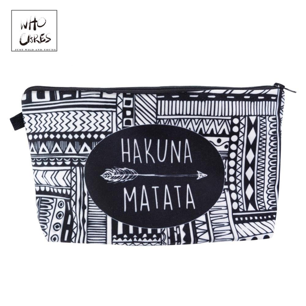 Who Cares HAKUNA MATATA Printing Fashion Makeup Bags Cosmetics Pouchs For Travel Ladies