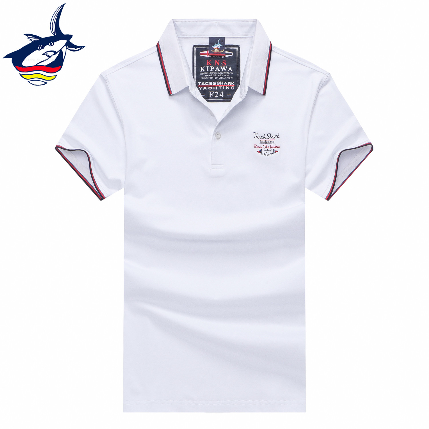 huge discount 20095 f604a US $18.12 47% OFF Tace & Shark polo shirts hombre Summer 2019 men's polo  shirt 3D letter embroidery solid short sleeve camisa casual poloshirt  3XL-in ...