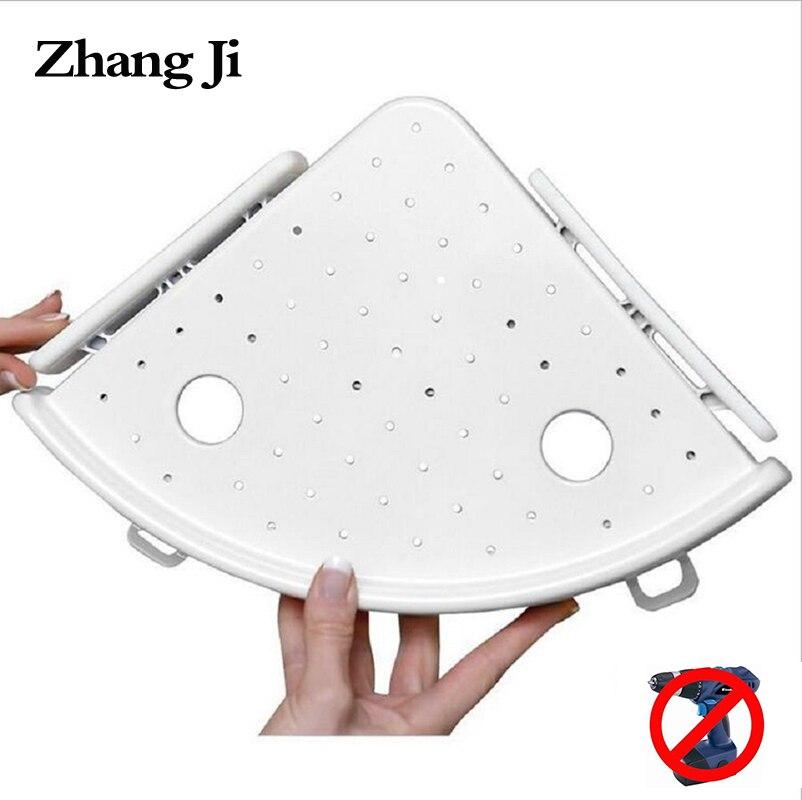 Zhangji baño Qrganizer apoderarse esquina estante Caddy baño Esquina de plástico ducha estante de almacenamiento soporte de pared
