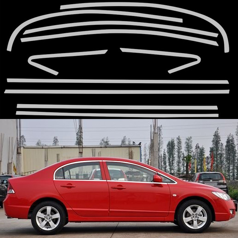 New Car Styling Full Window Decoration Trim Strips For Honda Civic 8th 2008 2009 2010 2011 Stainless Steel Accessories OEM-10-18 high quality stainless steel strips car window trim decoration accessories car styling for 2013 2015 ford ecosport 14 piece