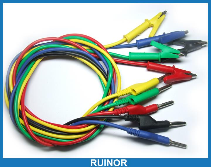 ФОТО 5X Silicone Voltage Cable Test Alligator to Banana Plug 679364001314
