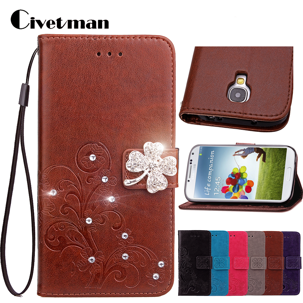 Cover Case For Samsung Galaxy S4 mini i9190 i9192 S4 S IV i9500 i9505 Flip PU Leather TPU Shell Clover Diamond Holster Card Bag
