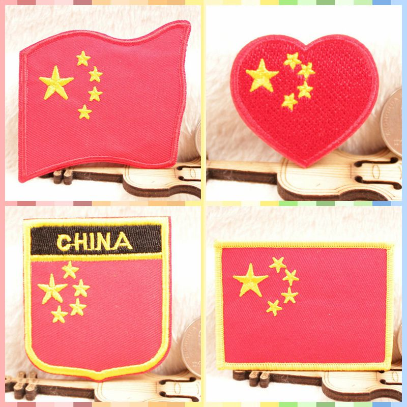 Free Shipping Chinese Flags 5 stars stickers 4pcs/lot Iron On Embroidered cloth patch party promotion costume decoration gifts