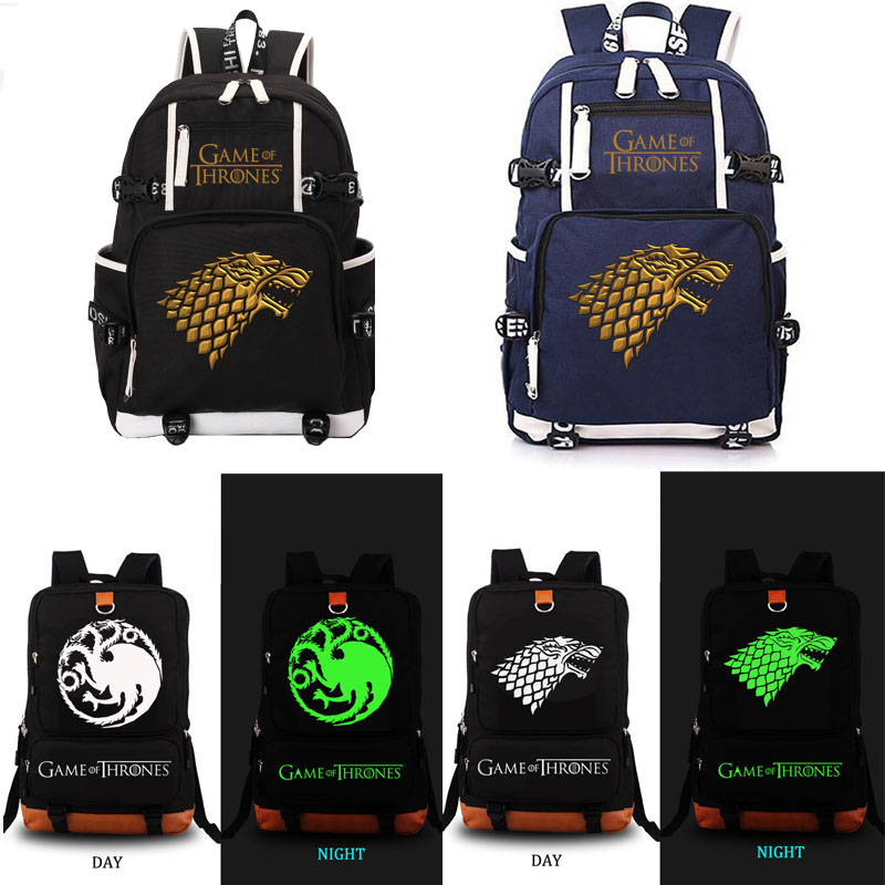 Game of Thrones school bag noctilucous backpack student school bag Notebook backpack Leisure Daily backpack new game of thrones anime ice and fire backpack shoulder school bag package cosplay 45x32x13cm