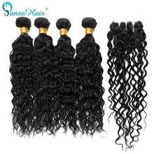 Water Wave 4 Bundles With Closure Natural Black 1B Human Hair Malaysian Hair Bundles With Closure Panse Hair Non Remy Weave(China)