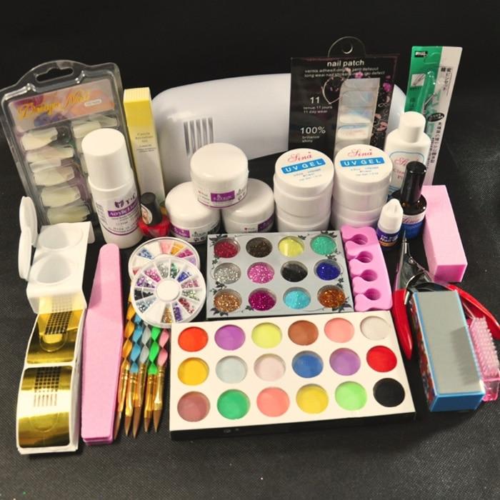 Pro 9W UV White Dryer Lamp 30 Colors Acrylic Powder Glitter Brush Buffer Nail Art tools Kits att 117free shipping pro 9w white uv lamp 30 colors pure uv gel acrylic brush nail art kits