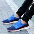 2016 новая тенденция мужская обувь повседневная летать переплетения дышащая легкого веса мужская повседневная обувь, плоские туфли Zapatos Sapatos masculinos
