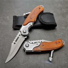 200 мм (7,9 ») 57HRC Карманный тактический складной нож для выживания Охота Кемпинг Карманные ножи с светодиодный ножи