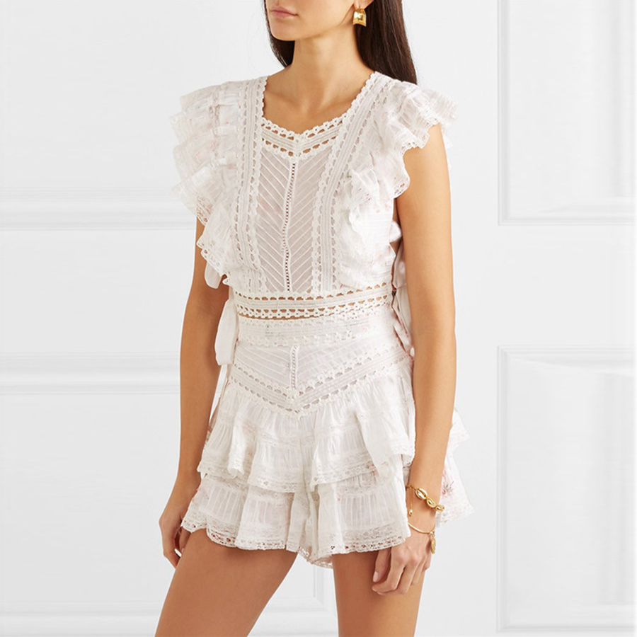 2019 New Fashion Solid Women Two Piece Outfits Hollow Out Lace Drawstring Short Style Top Cascading