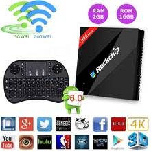 H96 Max Rockchip RK3399 Six Core 2G/16G Android 6.0 TV Box 4K Media Player WiFi 1000M LAN H.265 Android TV Set Top Box+keyboard