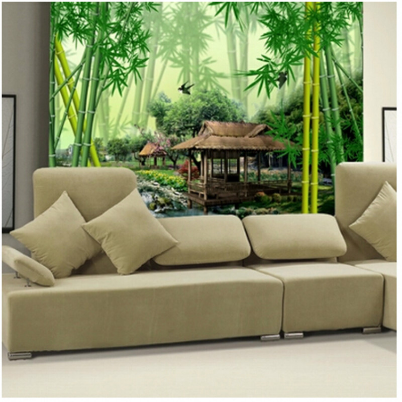 Large TV Sofa Background 3D Wallpaper Mural Wall Painting Bamboo Forest  Green Spring Natural Comfort For Living Room In Wallpapers From Home  Improvement On ...