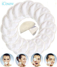 iCosow Reusable Makeup Remover Pads 50 Pcs, Washable Organic Bamboo Cotton Rounds, Toner Pads, Facial Soft Cleansing Wipes