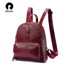 REALER women backpack cow split leather Alligator multifunct
