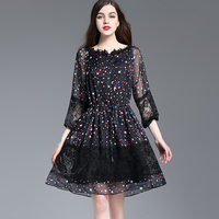 Summer Dresses Women Fashion 2017 Star Print Patchwork Lace V Neck 3 4 Sleeve High Quality