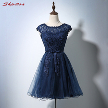 Sexy Beautiful Short Cocktail Dresses Womens Navy Blue Lace Prom Coctail  Dress for Party jurk vestidos 3a927237f05b