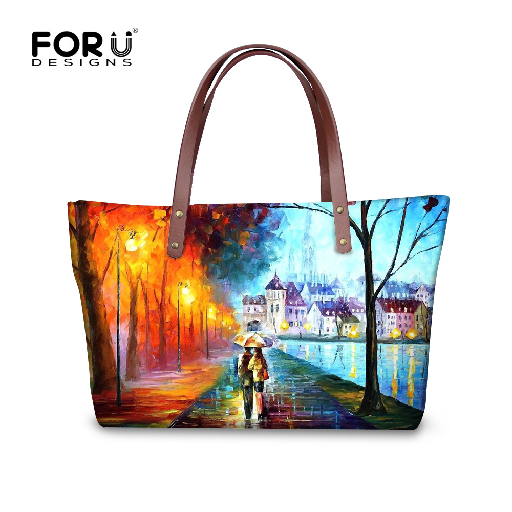Fashion Women Handbags Landscape Prints Female Shoulder Bag Brand Designer Shopping Bags Tote Bolsos Feminina Ladies Handbags