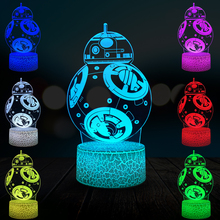 цена Cartoon BB-8 Robot 3D Lamp LED USB Mood Illusion Table BB8 Night Light Multicolor Touch Remote Luminaria Switch Crack Base онлайн в 2017 году