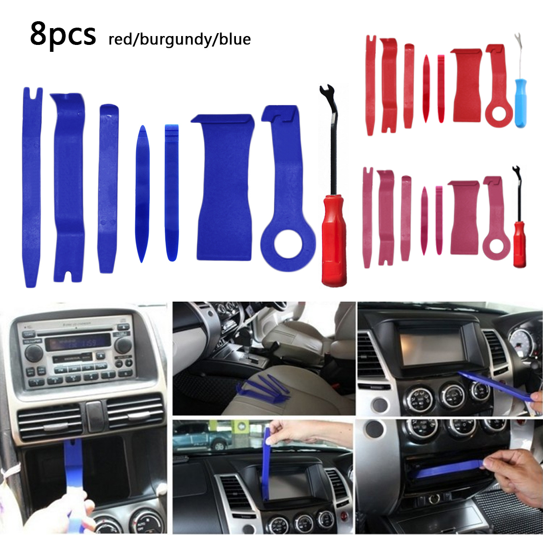 Opening Tool Set 8pcs Hand Tool Set Auto Car Radio Panel Interior Door Clip Panel Trim Dashboard Removal DIY Car Repair Tool Kit removal plier trim clip carbon steel pliers auto repair tools trim panel clip removal plastic rivets buckle clamp hand tool