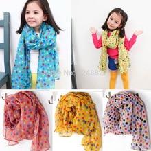 New Fashion Kid Chiffon Scarf Autumn Winter children's scarf Kids dot silk scarves girls boys warm cappa scarf 5pcs/lot