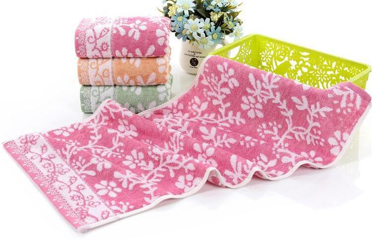 Freeshipping 3pcs/lot 34*75cm Soft Cotton Face Flower Towel Bamboo Fiber Quick Dry Towels pink floral towels