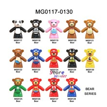 Single Building Blocks Cartoon Super Heroes Bear Costume Wonderwoman Superman Flash Lantern Batman Model Figure toy for children(China)