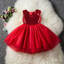 Summer New Girls Dress Mesh Princess Dress Sequins Backless Love Dress Baby Girls Evening Dress Birthday Party Princess Dress