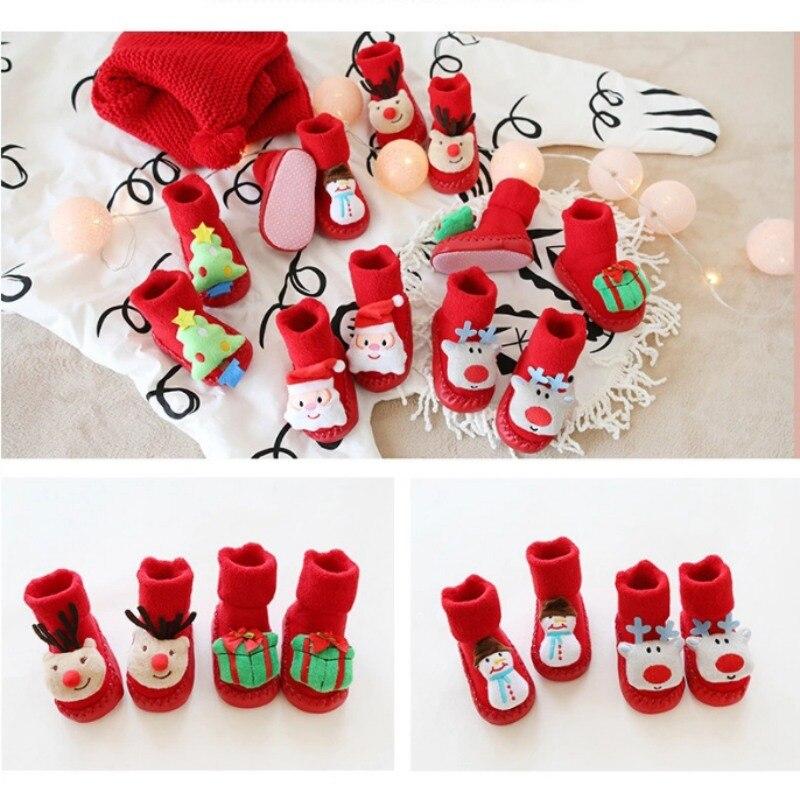 Autumn Winter Christmas Terry Thick Anti-skid Toddler Baby Socks Newborn Boys Girls Floor Socks New Cotton Soft