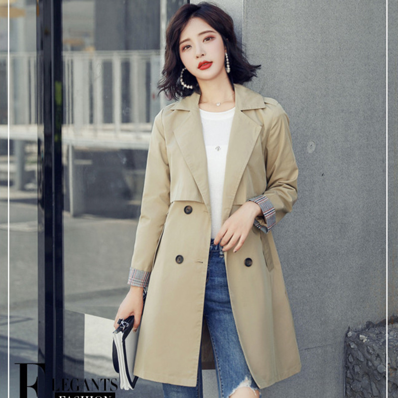 2019 Spring Fashion Windbreaker Woman Chic Tailored Collar   Trench   Coat Simple Loose Coat Female Thin Outwear