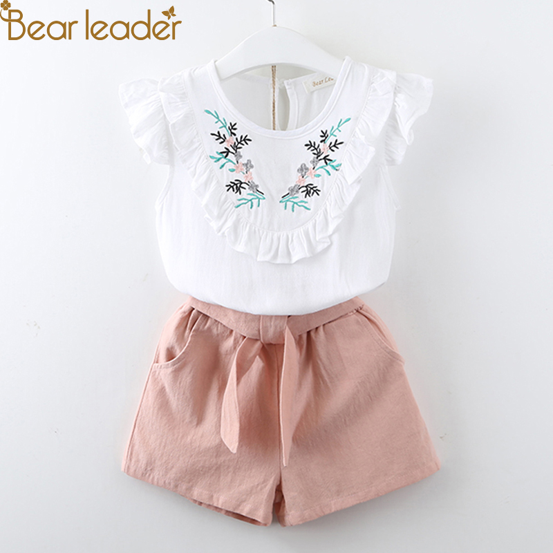 Bear Leader Girls Clothing Sets 2018 Summer Fashion Style Kids Clothes embroidery T-shirt & shorts 2Pcs Suit Kids for 3-7 years kids clothes 2017 fashion flare sleeve summer style teen girls t shirt black hole pants 2pcs suit children clothing sets fc003