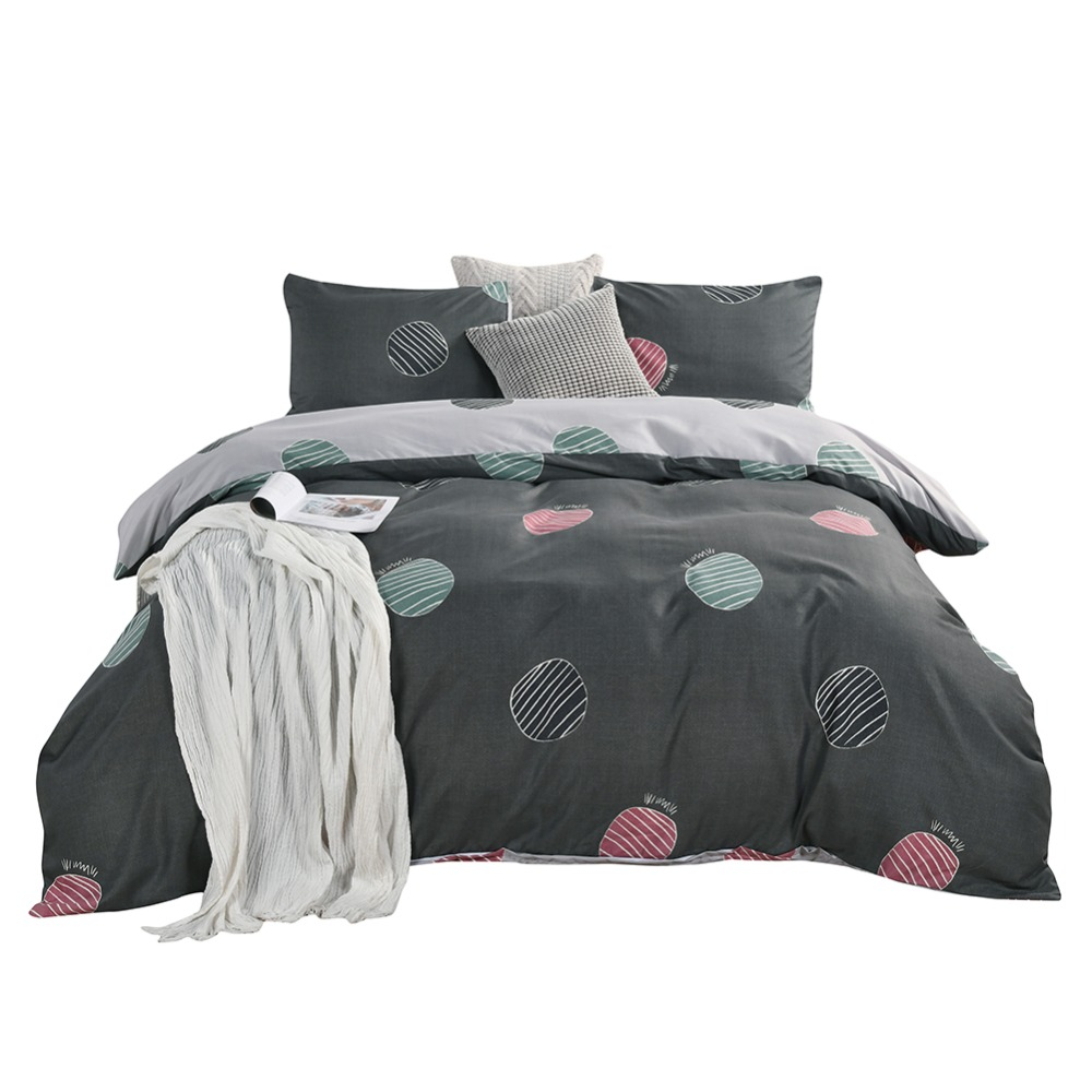 3Pieces Bedding Set Twin/Queen/King Size Polka Dot Graphic Duvet Cover Pillowcase Unfading Stain Resistant Machine Washable