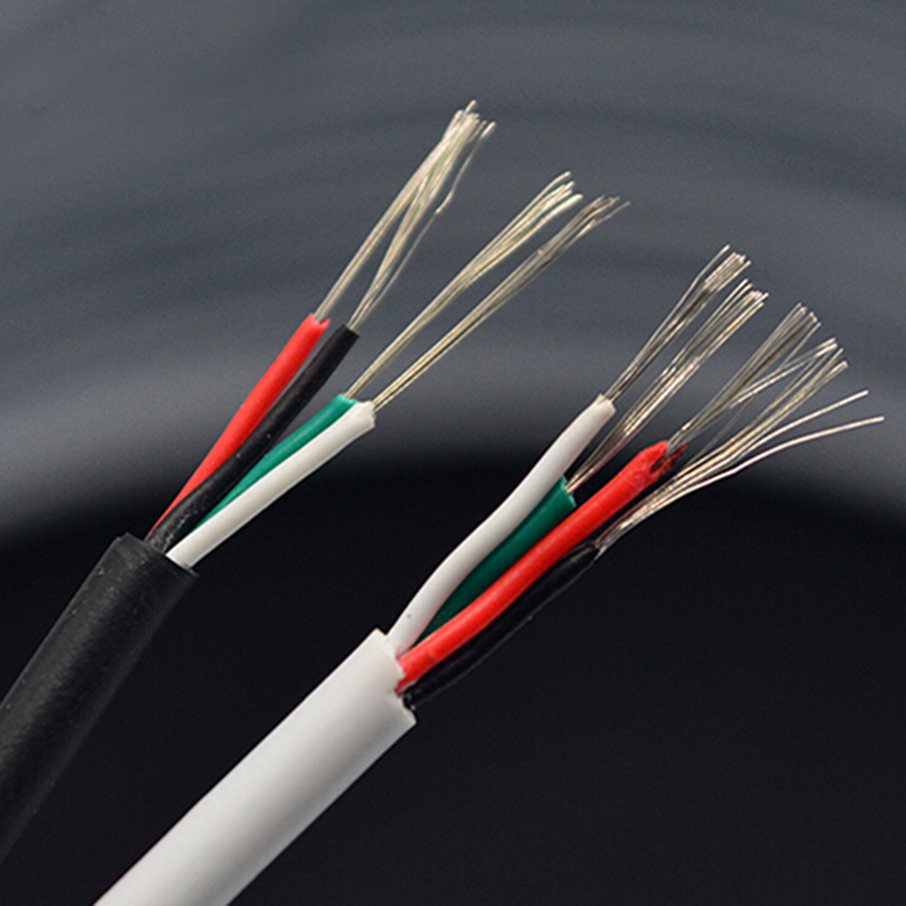 1M PVC Isulated Electrical <font><b>Wires</b></font> <font><b>4</b></font> <font><b>Cores</b></font> Shielded Signal <font><b>Wire</b></font> For Audio And Video Headphone Cable Cord DIY Dia 3mm image