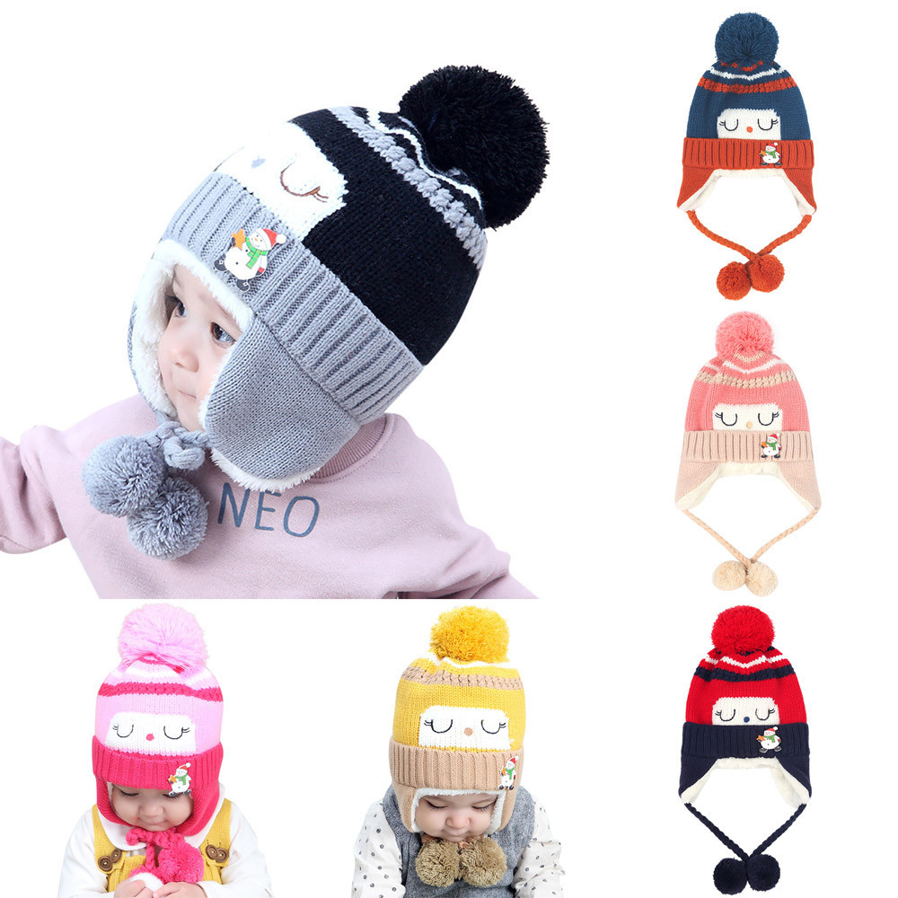 1-3T Baby Hats With Pompom Ball Warm Ears Knitted Crochet Beanie Toddler Infant For Girls Boy Cotton Knitted Winter Kid Cap 0125