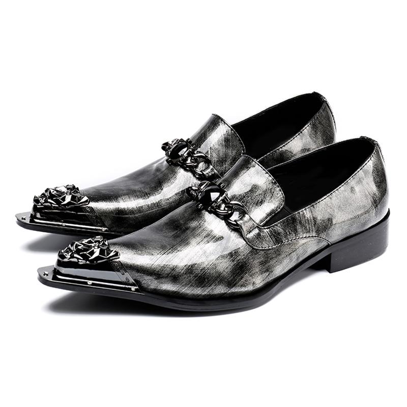 Verni Qualité Sl35 Hommes Mariage Taille En Mocassins Croissante Pointu De Bout Hauteur Gris Chaussures Strass La Homme Rocker Cuir Haute Plus 8qnHx78I