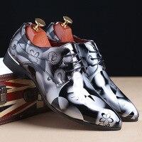 Модные мужские туфли-оксфорды на плоской подошве с острым носком, роскошные повседневные кожаные туфли, Мужские модельные туфли на шнуровк...