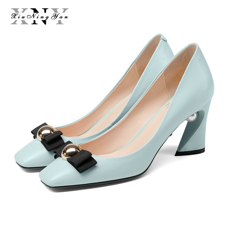 XIUNINGYAN 2019 Women Pumps Black Fashion Shoes Female Bright Genuine Leather Shoes Pearl High Heel Pumps Bow Brand Shoes Woman aercourm a 2018 women black fashion shoes female bright genuine leather shoes pearl high heel pumps bow brand new shoes z333