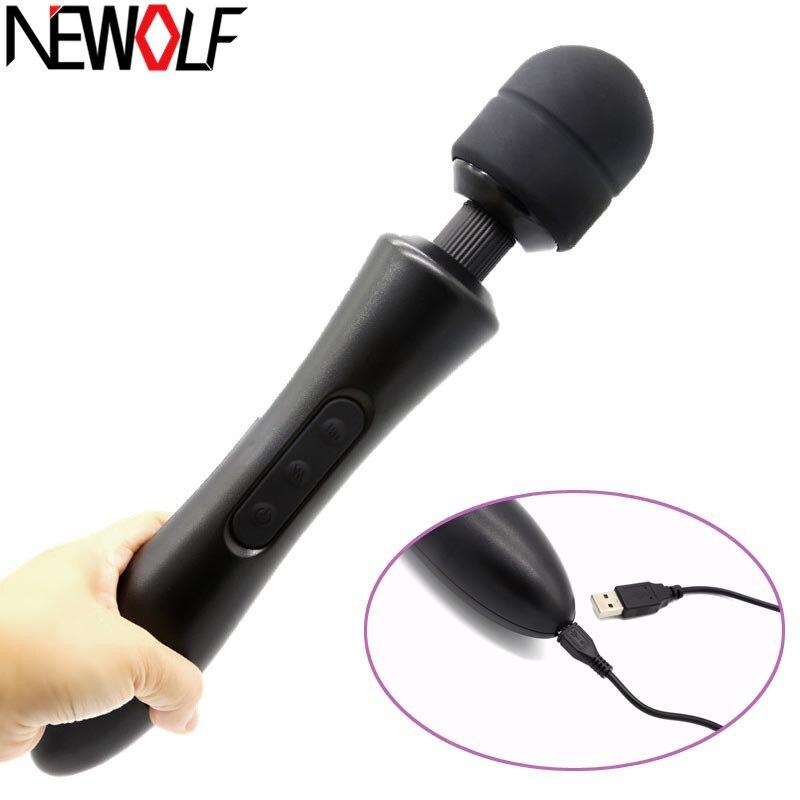 USB Charge puissant AV baguette magique masseur vibrateur Silicone G Spot vibrateurs Sex shop adulte Sex Toys pour femme masturbateur Q103