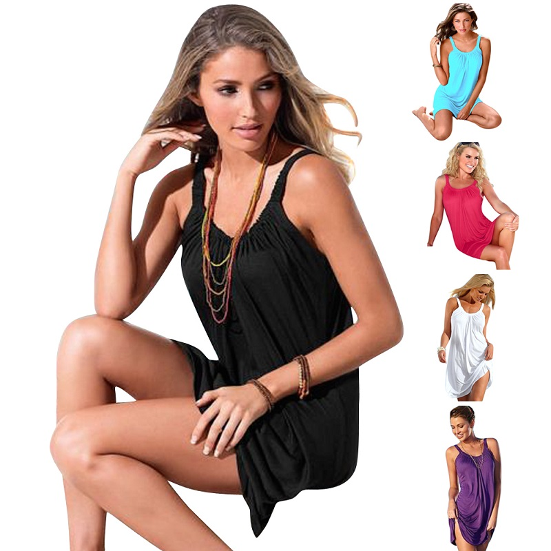 Womens Summer Beach Wear Dress Sleeveless Evening Party Beach Dresses Halter Short Mini Dress Bathing Suit Cover Ups Pareo ...