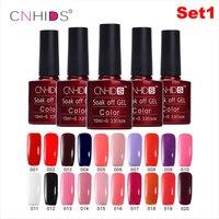 20pc Set Fashion Nail Tool LED UV Polish Polish Nail Color CNHIDS 10ML Bottle 132color 9set