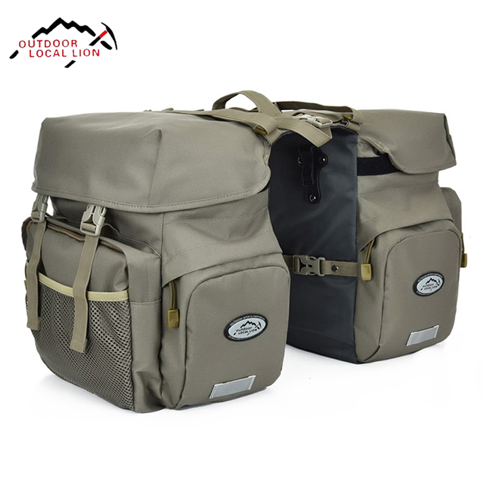 LOCALLION Retro Canvas Bicycle <font><b>Carrier</b></font> <font><b>Bag</b></font> 50L Rear Rack Trunk <font><b>Bike</b></font> Luggage Back Seat Pannier Reflectivs Cycling Storage Two <font><b>Bag</b></font> image