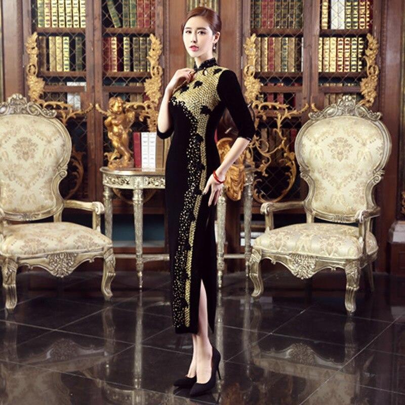 Modern Black Qipao 2017 Long Cheongsams Pearl Velvet Women Half Sleeve Cheongsam Traditional Chinese Dress Party Dresses