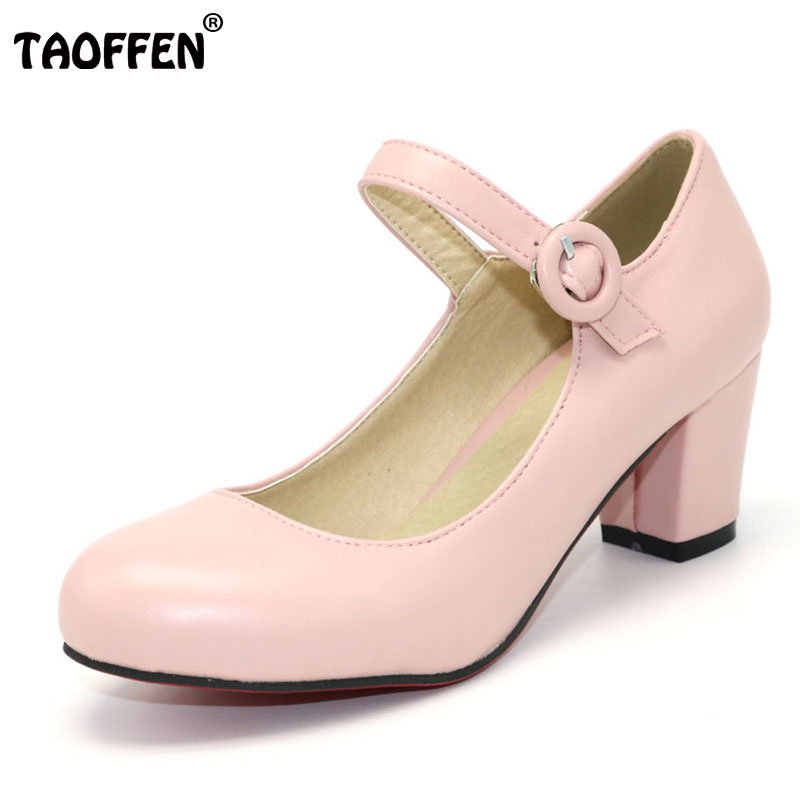 TAOFFEN Size 33-43 women High Heels shoes Round Toe Patent  Thick High Heeled Shoes Women Buckle Pumps classic Dress Footwears