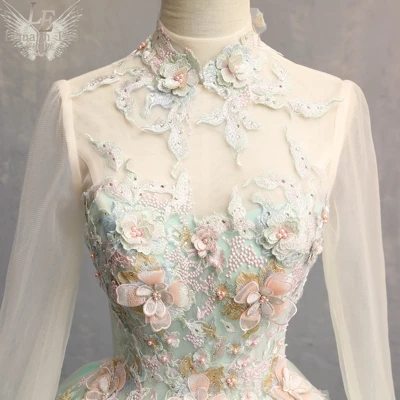 mint green long sleeve beading rococo Medieval Renaissance drama stage Gown event Costume Victoria Marie Antoinette