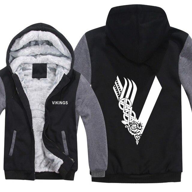 492fcd2bd New Vikings Hoodies TV Show Jacket Winter Men Thick Fleece Vikings  Sweatshirts Pullover Man Coat