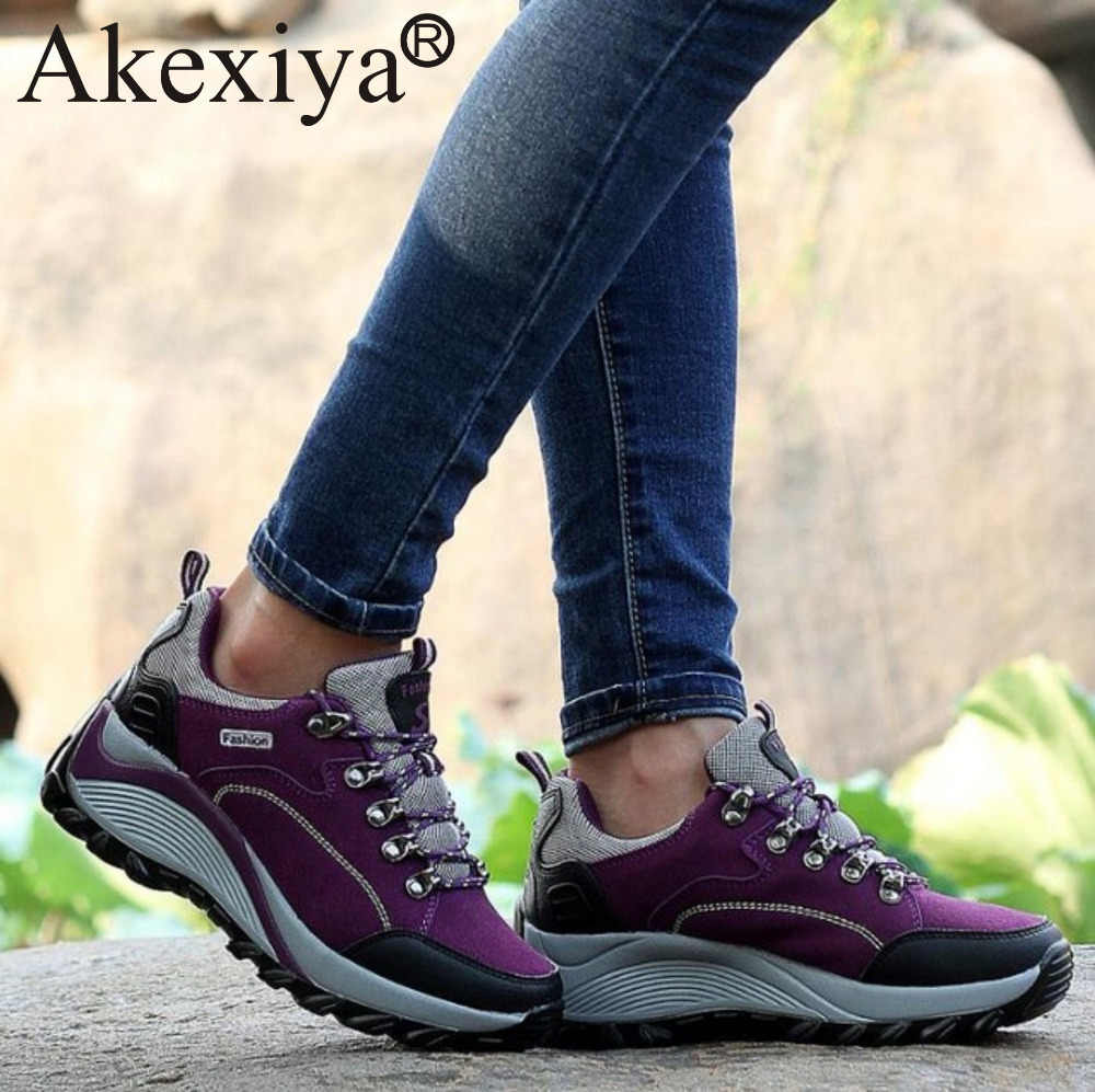 Akexiya kadın yürüyüş ayakkabıları sonbahar ve kış spor tırmanma ayakkabıları kaymaz Trekking yürüyüş kar botları açık kama ayakkabı